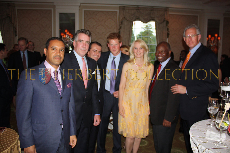 H.E. Ambassador Francis Lorenzo, guest, Richard Lukaj, Prince Harry of Wales, Sara Herbert-Galloway, H.E. Ambassador Boniface Chidyausiku and Barry Klarberg