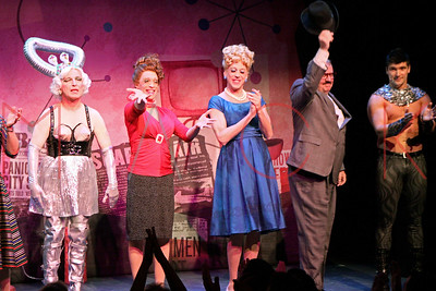 """New York, NY - November 13:  The cast curtain call at the opening night of """"Devil Boys From Beyond"""", New York, USA"""