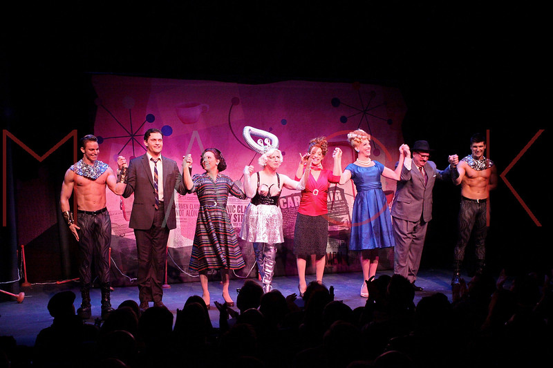 """cast curtain call at the opening night of """"Devil Boys From Beyond"""", New York, USA"""