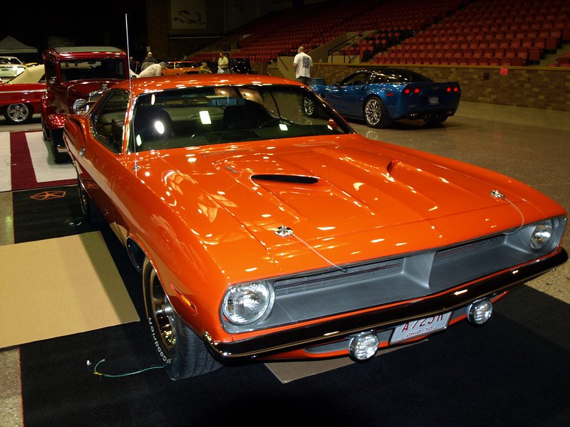 """Joe Hosner's '70 Barracuda got a great position in the main hall this year.  If you want to check out more shots of Joe's car, go to """"Featured Hot Machines""""   <a href=""""http://dustmanart.smugmug.com/Featured-Hot-Machines/Joe-Hosners-70-Cuda-440-Sixak/10288310_75Z9P#710535209_ixcZw"""">http://dustmanart.smugmug.com/Featured-Hot-Machines/Joe-Hosners-70-Cuda-440-Sixak/10288310_75Z9P#710535209_ixcZw</a>)."""