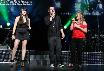 Katie Stevens, Lee DeWyze and Crystal Bowersox perform during the American Idol Live show at the Comcast Center on July 18, 2010 in Mansfield, MA.