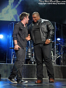 Lee DeWyze and Michael Lynche perform during the American Idol Live show at the Comcast Center on July 18, 2010 in Mansfield, MA.