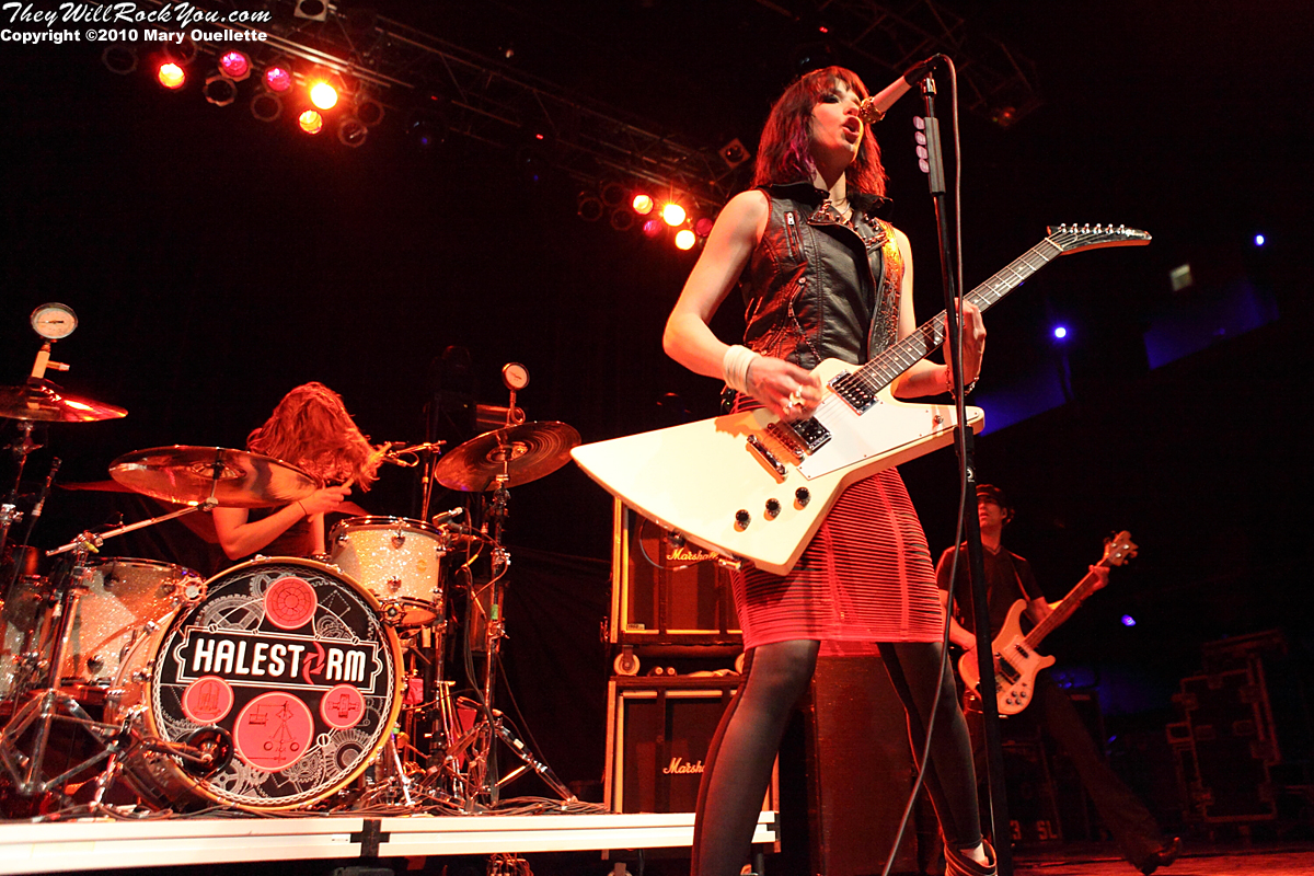 Halestorm performs in support of the band's self-titled debut album at the House of Blues on January 31, 2010 in Boston, MA