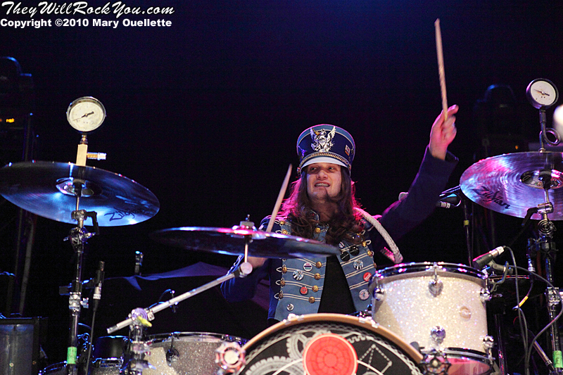 Arejay Hale of Halestorm performs in support of the band's self-titled debut album at the House of Blues on January 31, 2010 in Boston, MA