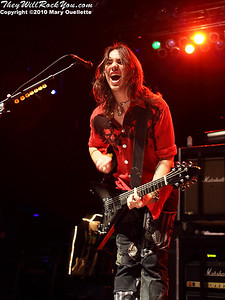 Joe Hottinger of Halestorm performs in support of the band's self-titled debut album at the House of Blues on January 31, 2010 in Boston, MA