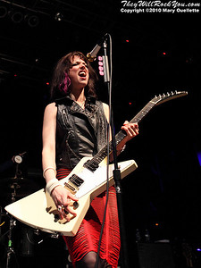 Lzzy Hale of Halestorm performs in support of the band's self-titled debut album at the House of Blues on January 31, 2010 in Boston, MA