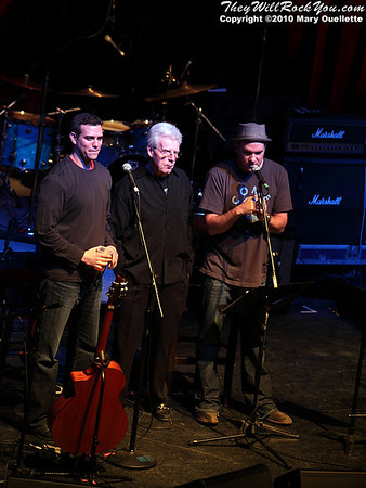 (L-R) Theo Epstein, Peter Gammons and Mike O'Mally open the Hot Stove Cool Music Benefit Show in Boston at the House of Blues on January 9, 2010