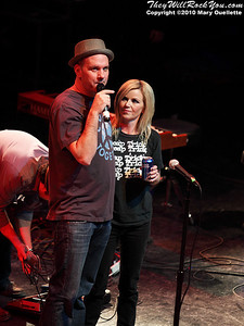 Kay Hanley (Letters to Cleo) and actor Mike O'Mally entertain the crowd between sets at the Hot Stove Cool Music Benefit Show in Boston at the House of Blues on January 9, 2010