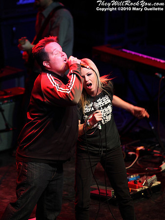 Kay Hanley (Letters to Cleo) and Ken Casey (Dropkick Murphys) perform at the Hot Stove Cool Music Benefit Show in Boston at the House of Blues on January 9, 2010