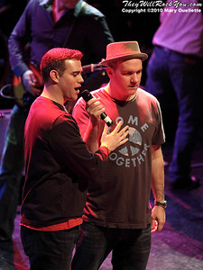 Red Sox GM Theo Epstein and actor Mike O'Mally at the Hot Stove Cool Music Benefit Show in Boston at the House of Blues on January 9, 2010