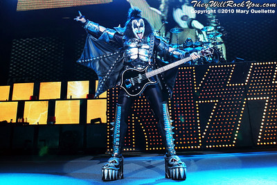 "Gene Simmons of KISS performs on August 7th, 2010 in support of their ""HOttest Show On Earth Tour"" at The Comcast Center in Mansfield, Massachusetts"