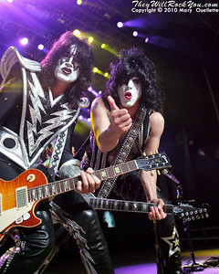"""Tommy Thayer & Paul Stanley of KISS performs on August 7th, 2010 in support of their """"HOttest Show On Earth Tour"""" at The Comcast Center in Mansfield, Massachusetts"""