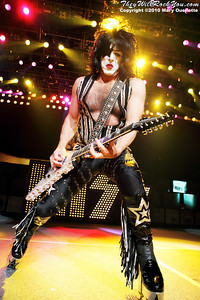 """Paul Stanley of KISS performs on August 7th, 2010 in support of their """"HOttest Show On Earth Tour"""" at The Comcast Center in Mansfield, Massachusetts"""