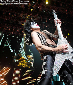"Paul Stanley of KISS performs on August 7th, 2010 in support of their ""HOttest Show On Earth Tour"" at The Comcast Center in Mansfield, Massachusetts"