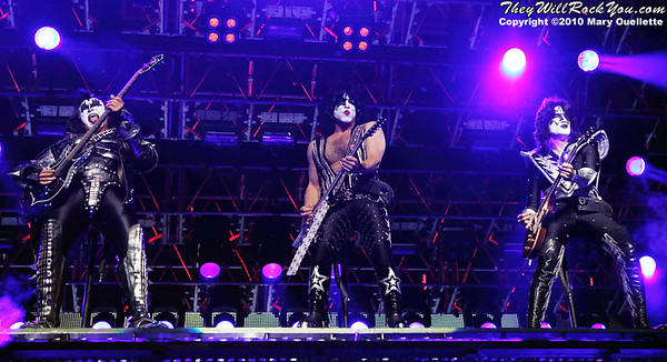 "KISS performs on August 7th, 2010 in support of their ""HOttest Show On Earth Tour"" at The Comcast Center in Mansfield, Massachusetts"