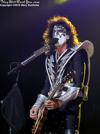 "Tommy Thayer of KISS performs on August 7th, 2010 in support of their ""HOttest Show On Earth Tour"" at The Comcast Center in Mansfield, Massachusetts"