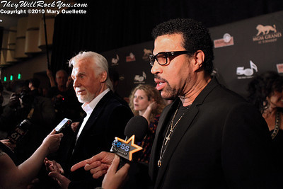 "Lionel Richie & Kenny Rogers talking to press on the red carpet for ""Kenny Rogers the First 50 Years"" Television Special at The MGM Grand Theate rin Mashantucket, CT on April 10, 2010."