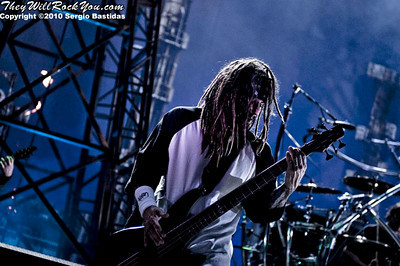 Korn performs live on the main stage at The Mayhem Fest in San Bernardino, Calif. on Saturday night, July 10, 2010. (Photo by Sergio Bastidas/Sini69 Photography, ©2010)