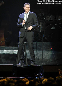 """Michael Bublé performs on November 27, 2010 in support of """"Crazy Love"""" at the TD Garden in Boston, Massachusetts"""