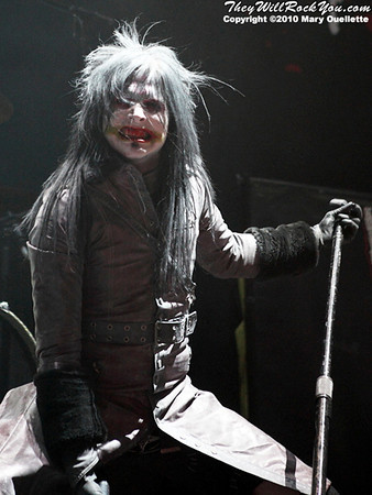 "Murderdolls perform on October 16, 2010 on the ""Halloween Hootenany Tour"" stop at the DCU Center in Worcester, Massachusetts."