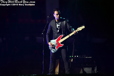 Chris Wolstenholme of Muse performs at the TD Garden on March 6, 2010 in Boston, Massachusetts