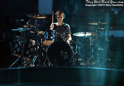 Dominic Howard of Muse performs at the TD Garden on March 6, 2010 in Boston, Massachusetts