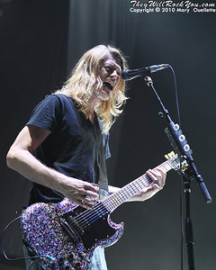 "Puddle of Mudd perform on the ""Carnival of Madness"" tour at the Mohegan Sun Arena on August 4, 2010 in Uncasville, Connecticut."