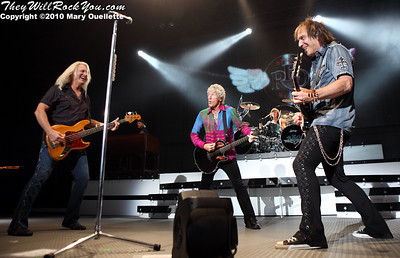 REO Speedwagon perform at the Bank of America Pavillion in Boston, MA on August 29, 2010