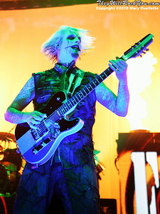 """John 5 of Rob Zombie performs on October 16, 2010 on the """"Halloween Hootenany Tour"""" stop at the DCU Center in Worcester, Massachusetts."""