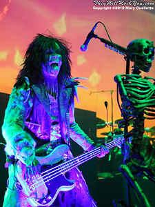"""Piggy D of Rob Zombie performs on October 16, 2010 on the """"Halloween Hootenany Tour"""" stop at the DCU Center in Worcester, Massachusetts."""