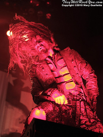 "Rob Zombie performs on October 16, 2010 on the ""Halloween Hootenany Tour"" stop at the DCU Center in Worcester, Massachusetts."