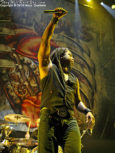 """Sevendust perform on the """"Carnival of Madness"""" tour at the Mohegan Sun Arena on August 4, 2010 in Uncasville, Connecticut."""