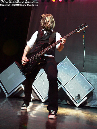 Eric Bass of Shinedown performs at The House of Blues, January 26, 2010, in Boston, MA