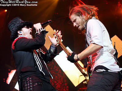 "Brent Smith and Zach Meyers of Shinedown perform on the ""Carnival of Madness"" tour at the Mohegan Sun Arena on August 4, 2010 in Uncasville, Connecticut."