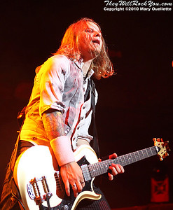 "Zach Meyers of Shinedown performs on the ""Carnival of Madness"" tour at the Mohegan Sun Arena on August 4, 2010 in Uncasville, Connecticut."
