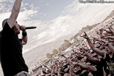 Hatebreed performs live on the main stage at The Mayhem Fest in San Bernardino, Calif. on Saturday afternoon, July 10, 2010. (Photo by Sergio Bastidas/Sini69 Photography, ©2010)