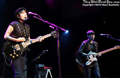 Tegan and Sara perform on July 30, 2010 during Lilith Fair at the Comcast Center in Mansfield, Massachusetts.
