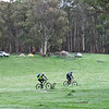 The Nungar Plain-gaine, ACT Championships, 8/24 hour, 23-24/10/10<br /> Hash House site on private property near Adaminaby<br /> John and Peter returning from the morning mountain bike patrol, 24/10/10
