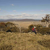 Rogaine course setting, Tantangara Dam area, NSW, 9/10/10<br /> View of Nungar Plain from Nungar Ridge<br /> John having afternoon tea