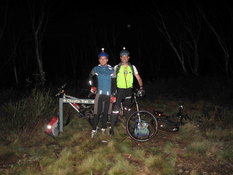The Nungar Plain-gaine, ACT Championships, 8/24 hour, 23-24/10/10<br /> John and Peter on their evening mountain bike safety patrol