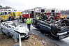 1/25/2010 Roll Over at 235 and Airport View Dr : Company 7 (Hollywood) and Company 79 (Hollywood Rescue) along with Company 39 (Lexington Park Rescue) were dispatched on the initial call for the two vehicle collision with one over turned and one on fire. Well let me tell you that gets the adrenaline pumping on any firefighter and emergency services person and squad 7 marked up right away fully staffed. The medic unit had been dispatched and arrived on the scene almost right away along with our Lieut. 9 Mark Warren who works near by. By this time Fireboard had dispatched an additional squad due to the severity of the crash. Chief 7A (Doug Insley) had marked up as responding and Lt. 9 advised both him and the squad from 7 that there was no fire but heavy entrapment in one vehicle. Squad 7 (The Beast) arrived right after that under the command of Capt. Ricky Brady and the firefighters from the nuthouse went right to work on the car with the subject trapped. Man they came off that piece with everyone carrying a tool and it looked like an octopus with all the lines stretched to the different tools.