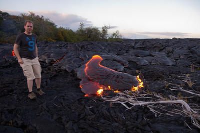 My posture and facial expression give an idea of how uncomfortable it was standing so close to the lava flow. ;-)