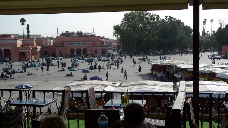 Looking out at the square in Djemaa El Fna in Marrakech. It seems quiet and peaceful now, doesn't it. Later, you'll see a picture at night from across this square.