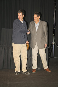 Bryan Cohn (r), Competition Director of NASA Midwest and Great Lakes Regions, congratulates Joe Sullivan (l) on his 2010 Outstanding Contribution Award. Joe is the Great Lakes Region Time Trials Director and stepped up and covered for Midwest Events and attended the Great Lakes events even when   his car was broken from a crash.
