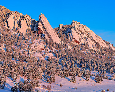 First day of Spring - Flatirons with 2 feet of fresh snow - View northwest from Table Mesa 3 vertical image stitch, Boulder, CO