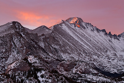 Sunrise on Longs Peak and Glacier Gorge Dream Lake trail, Rocky Mtn. National Park, CO