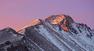 Morning sun lights up Longs Peak, Dream Lake trail, Rocky Mtn. National Park, CO