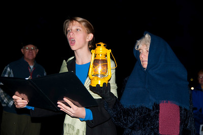 The darker side of Woodstock's history came alive at Spooky Woodstock. Lindsey Stuntz and Trustee Nancy Pejouhy tell the tale of the hanging of Samuel Godfrey on the Woodstock Green. Photos by Nancy Nutile-McMenemy 11/4/10 edition.