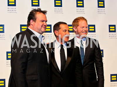 Photo by Tony Powell. Eric Stonestreet, Joe Salmonese, Jesse Tyler Ferguson. 14th Annual HRC Dinner. October 9, 2010