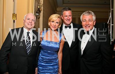 John McCain, Mika Brzezinski, Joe Scarborough, Chuck Hagel. Photo by Tony Powell. Atlantic Council 2010 Annual Awards Dinner. Ritz Carlton. April 28, 2010